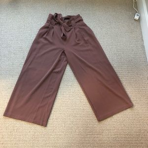 Tie front wide leg trousers